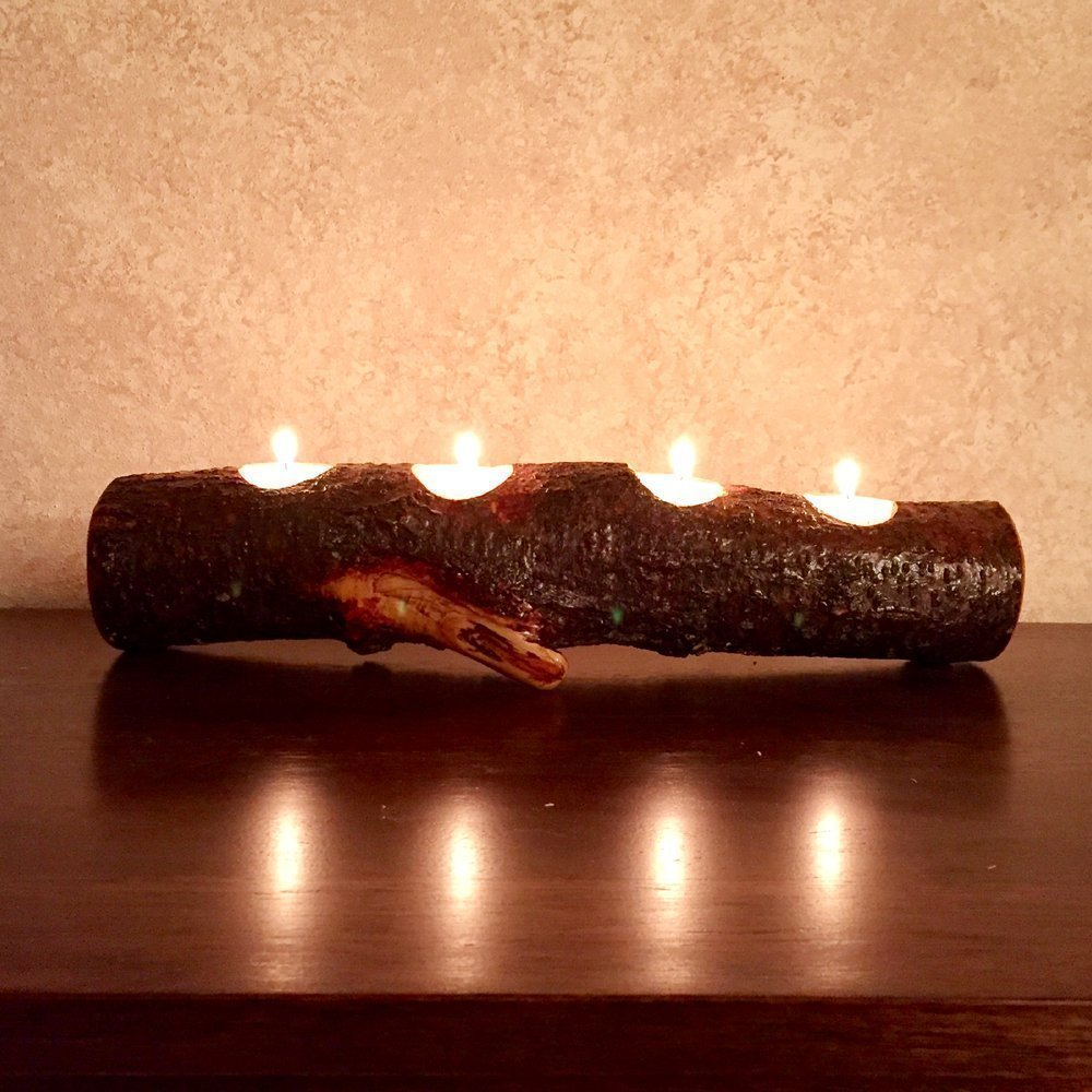 Full Log Branch Wood Tea Light Candle Holder