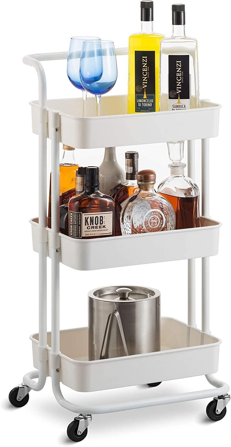 3-Tier Storage Rolling Cart – Metal Utility Organizer Caddy on Wheels, with 360 Rotation and Brakes, for Kitchen, Bathroom, Office – Easy Assembly, White