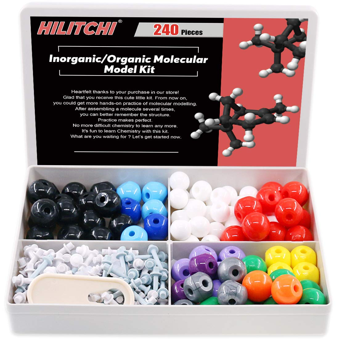 Hilitchi 240Pcs Organic Chemistry Molecular Model Kit with Remover Tool for Organic and Inorganic Chemistry Teaching Tool Set 86 Atoms and 153 Bonds