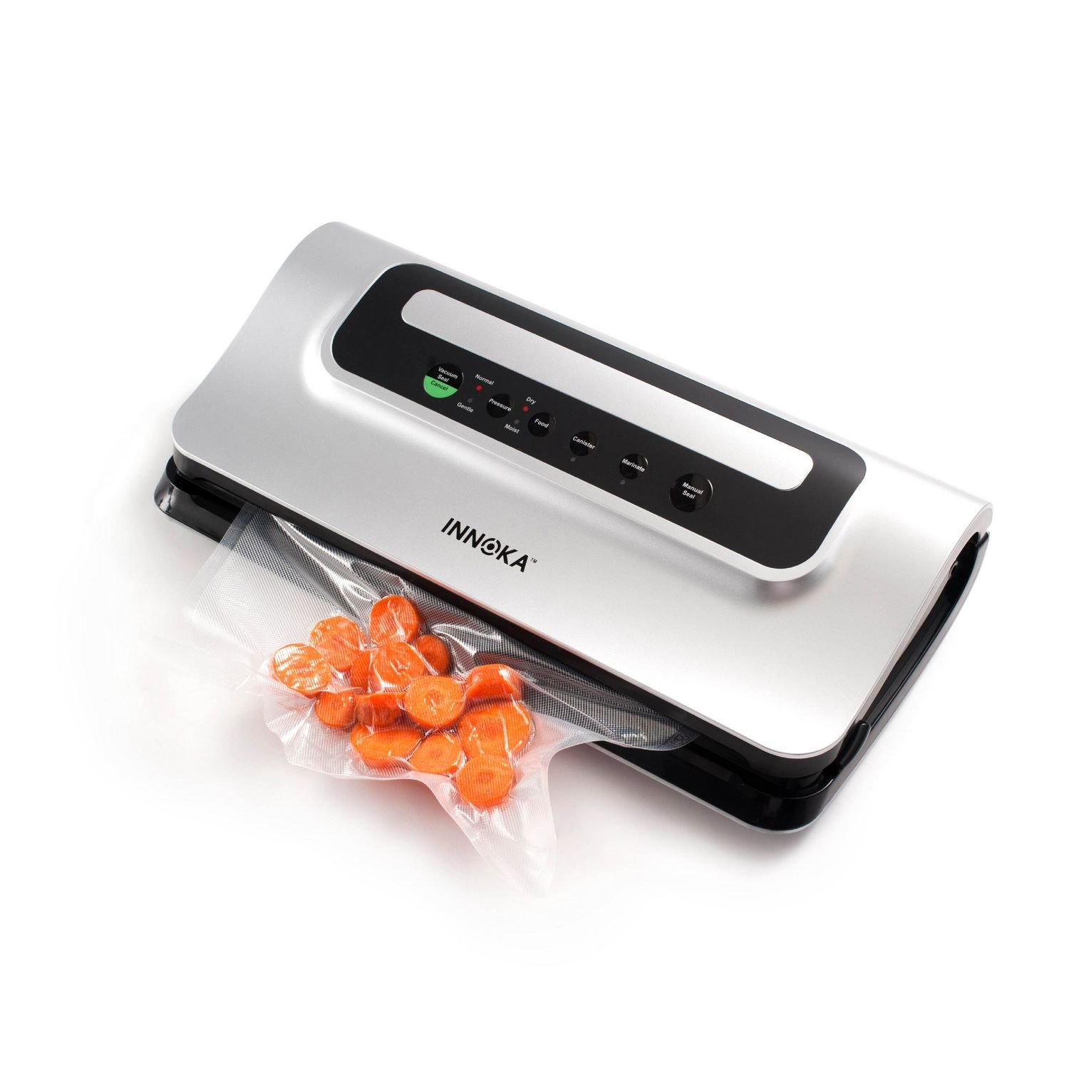 INNOKA Vacuum Sealer 2 IN 1, Sealing System with Cutter, Automatic Food Saver Machine for Preservation, Sous Vide & Canisters [ Dry, Moist, Delicate Food Modes ] Easy to Clean, LED Indicator
