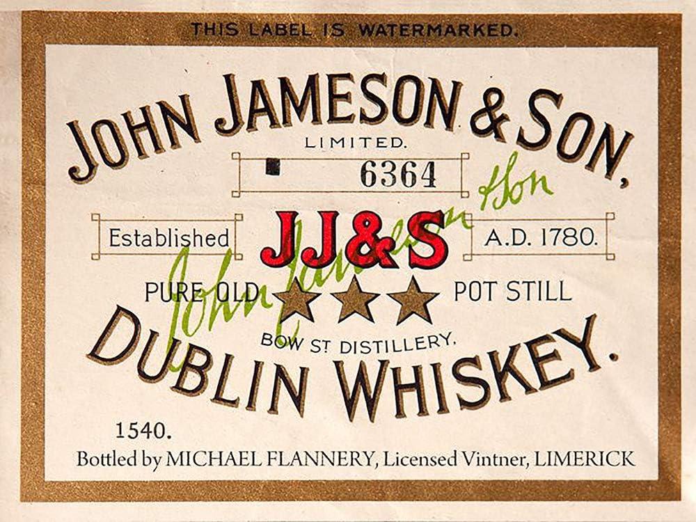John Jameson Irish whiskey label reproduction steel sign bar decor
