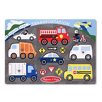 Melissa & Doug Transportation Vehicles Wooden Peg Puzzle (6 pcs): Melissa & Doug: Toys & Games