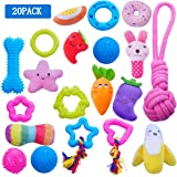 YUNKINGDOM (20 Pack) Dog Chew Toys for Puppies and Small Dogs,Plush Dog