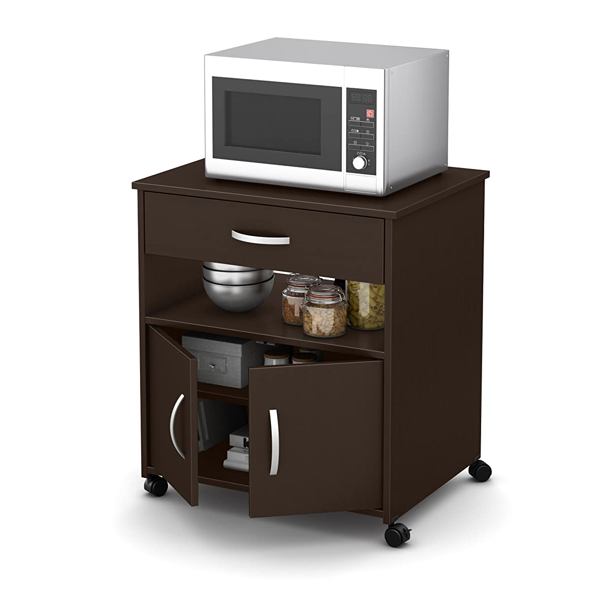 South Shore Fiesta Microwave Cart on Wheels, Chocolate