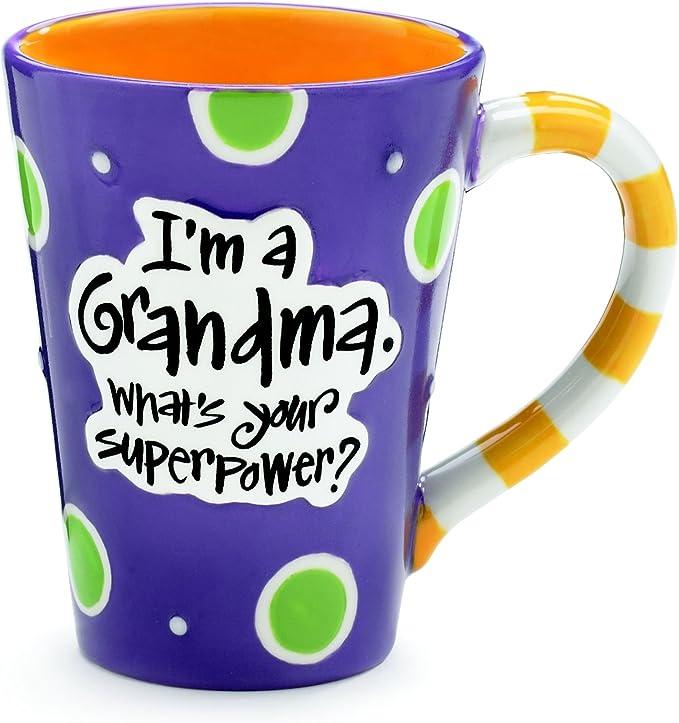 Amazon Com Burton 9716068 I M A Grandma What S Your Super Power Coffee Mug 12 Oz Purple Kitchen Dining
