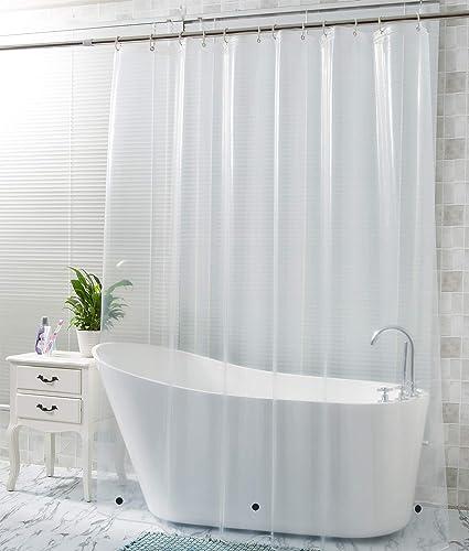 WELTRXE Shower Curtain Liner Mildew Resistant PEVA 8GNo Chemical OdorNon Toxic