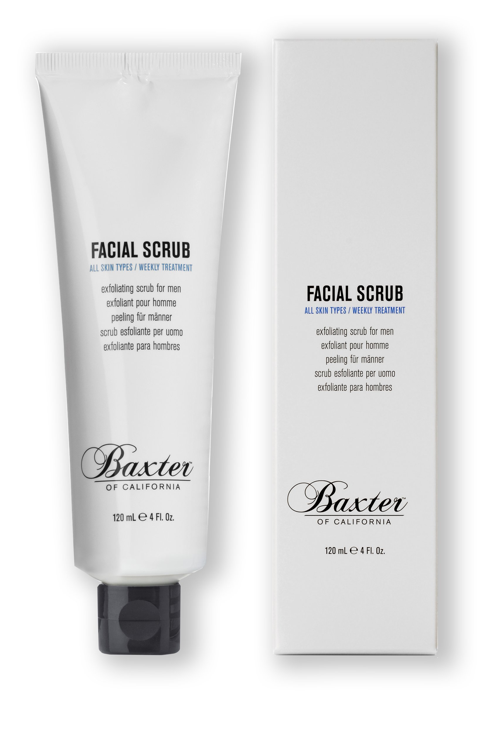 Baxter of California Exfoliating Facial Scrub for Men | Non-Drying with Walnut and Avocado Oil | All Skin Types | 4 fl. oz.