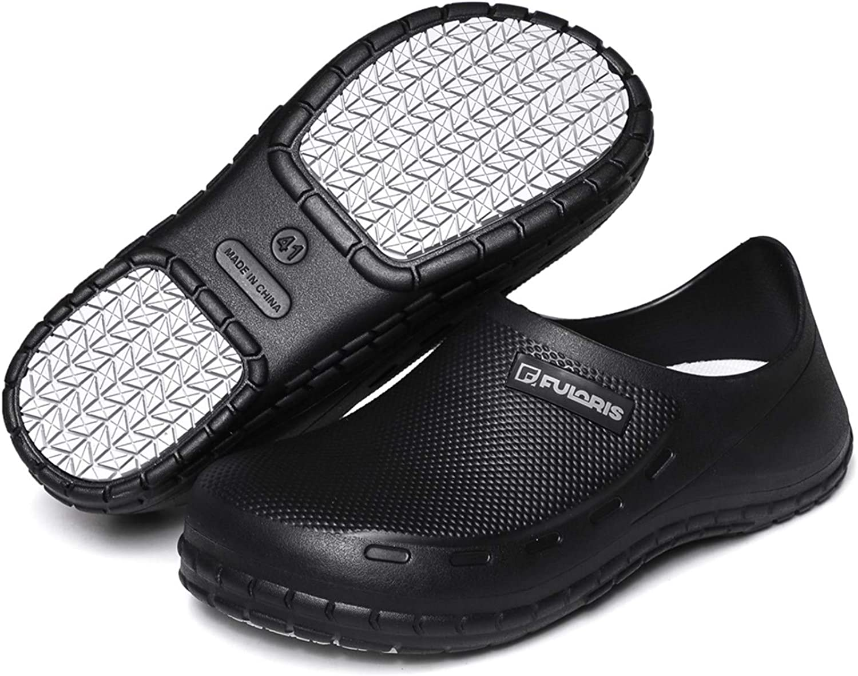 FULORIS Chef Nurse Shoes Non Slip for Men Black Shoe Oil Resistant Waterproof Safety Work for Crews Gardener Men Women Indoor and Outdoor Slippers Sneakers for Kitchen Office Seaside.
