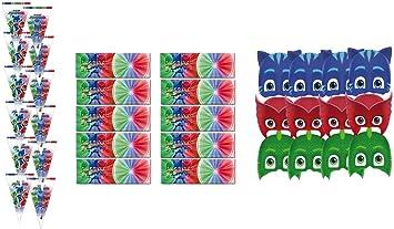 PJ Masks 2428; Pack Fiesta y cumpleaños Compuesto por 12 Invitaciones con sobre, 12 caretas y 12 Bolsas: Amazon.es: Juguetes y juegos