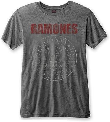 Rock Icon Ramones Rock Band Premium – Camiseta para hombre – Logo Red Seal (gris) (S-XL) Gris Desgastado S: Amazon.es: Ropa y accesorios