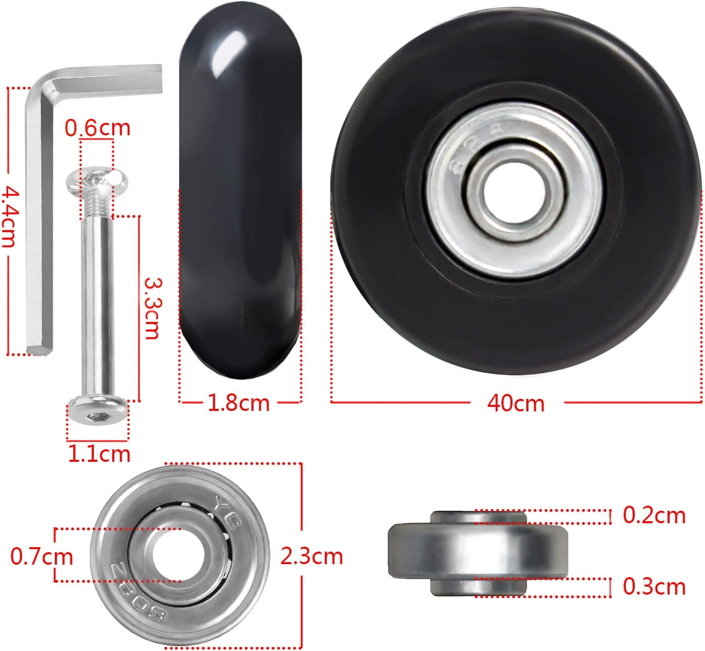 GSHFIGHTING Luggage Suitcase Replacement Wheels Rubber w//ABEC 608zz Skate Inline Outdoor Skate Repair Kits Set of 4 Wheels
