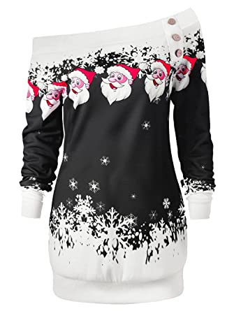 6a8e10dfc10 Moore Ugly Christmas Sweater Womens Off Shoulder Santa snowflak Tops Long Blouse  Shirt Bodycon Dress (