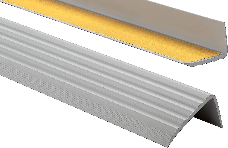 PVC Treppenkantenprofil Selbstklebend Winkelprofil Anti-Rutsch Treppenkante 41x25mm 2m Cremefarbe