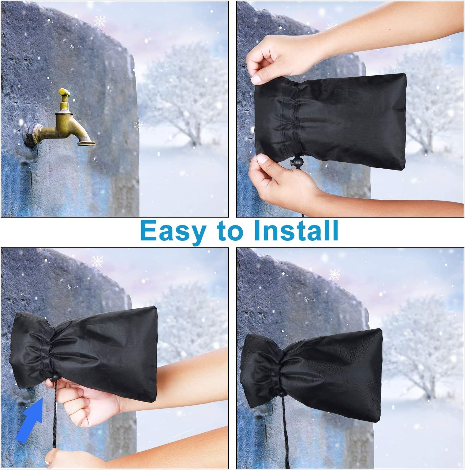 """HOMMAND Outdoor Faucet Cover for Winter, 3 Pack Thickened Anti-Frozen Waterproof Outdoor Faucet Protector, 9"""" H x 6"""" W (Universal) : Garden & Outdoor"""