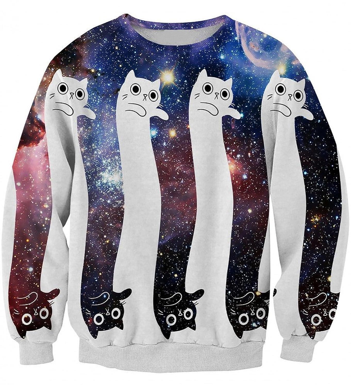 durable modeling Snlydtan Women Men Cute Galaxy Black White Cat Sweatshirt Clothing