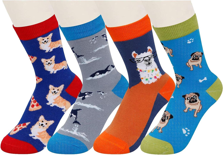 SOCKFUN Boys Crazy Funny Animal Shark Llama Space Cotton Socks 4 Pack with Gift Box