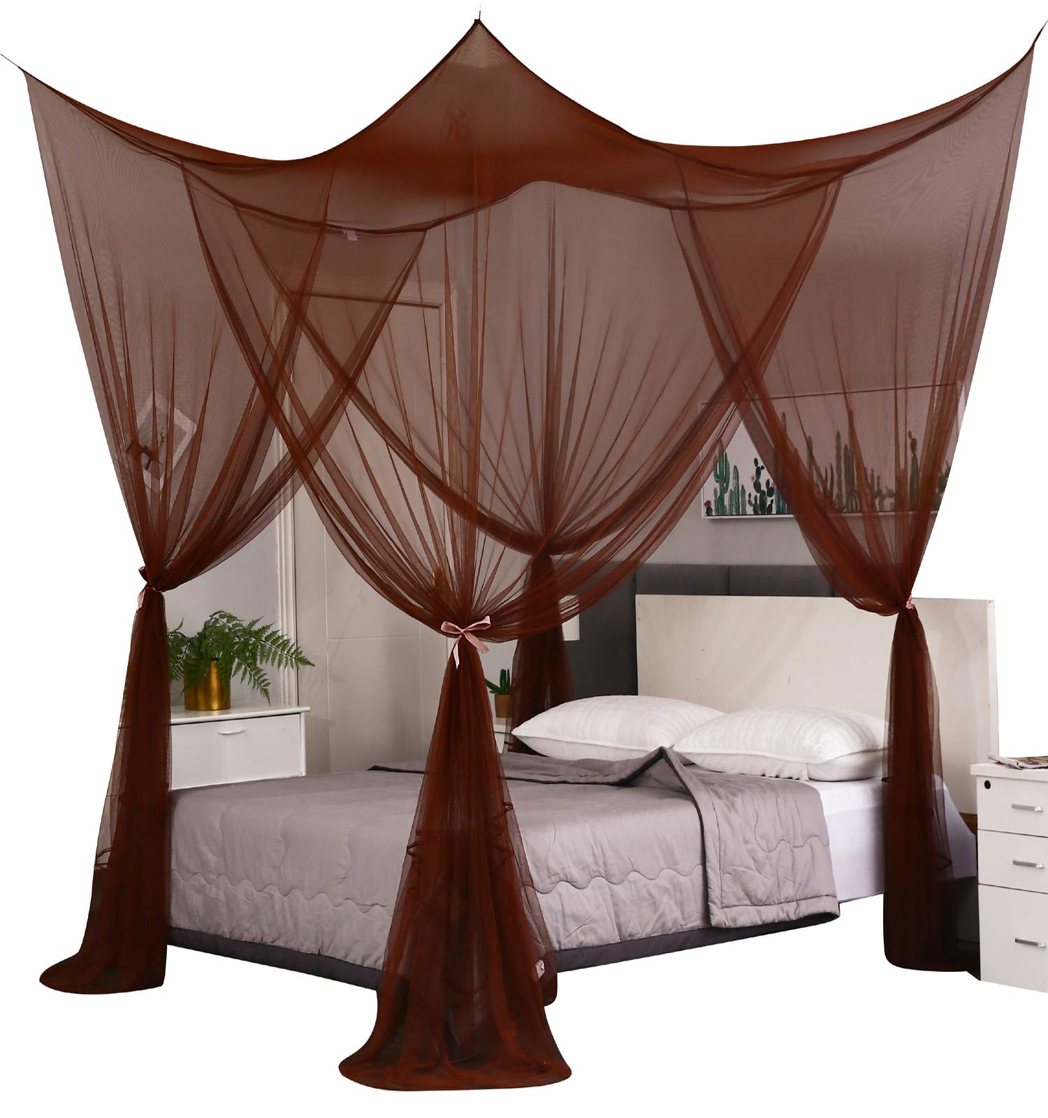 Mengersi 4 Corner Post Elegant Mosquito Net Curtain Bed Canopy for Full Queen King Bed,Suitable for Indoor Outdoor Net(Coffee, L87xW79xH98 inch)