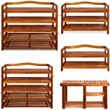 Shoe Storage Rack Strong Wooden Tropical Acacia Robust Storing Cabinet Furniture Unit Shoe Organiser