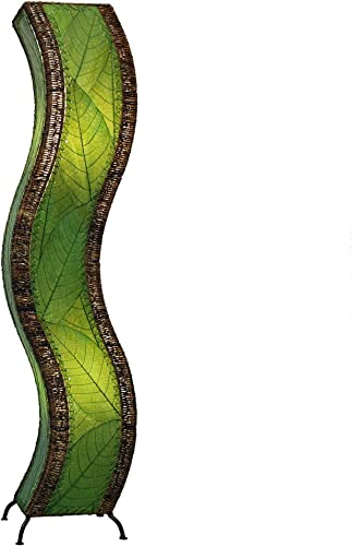 Eangee Home Design Wave Large Floor Lamp in Green Shade Made From Real Cocoa Leaves 457 l g