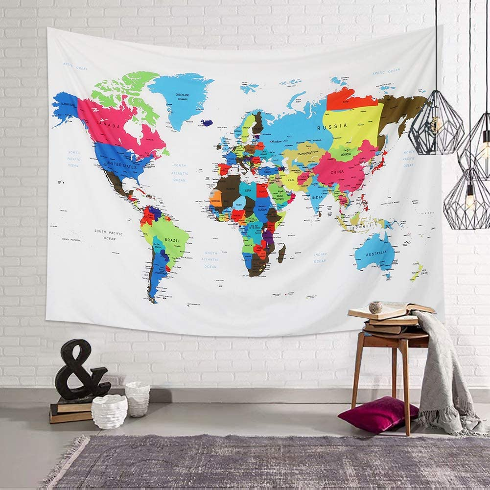 Cartoon Animal carte du monde Tapisserie Hippie Wall Hanging Couvre-lit dortoir Salon