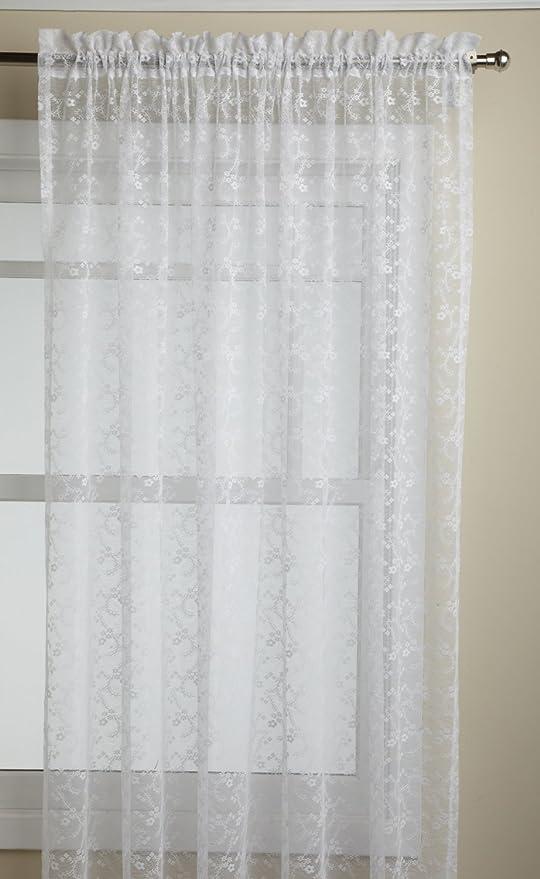 Amazon Com Lorraine Home Fashions Priscilla 60 Inch X 72 Inch Tailored Panel White Home Kitchen