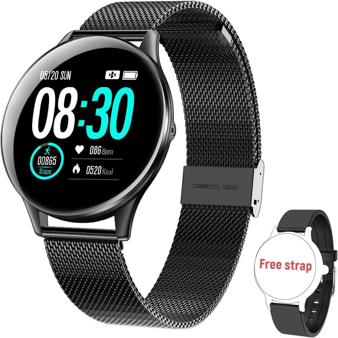 HopoFit Smartwatch, Reloj Inteligente IP68 Impermeable Pulsera Actividad Inteligente con Pulsómetro, Monitor de Sueño, Podómetro, Calorías Mujer Hombre para iOS y Android