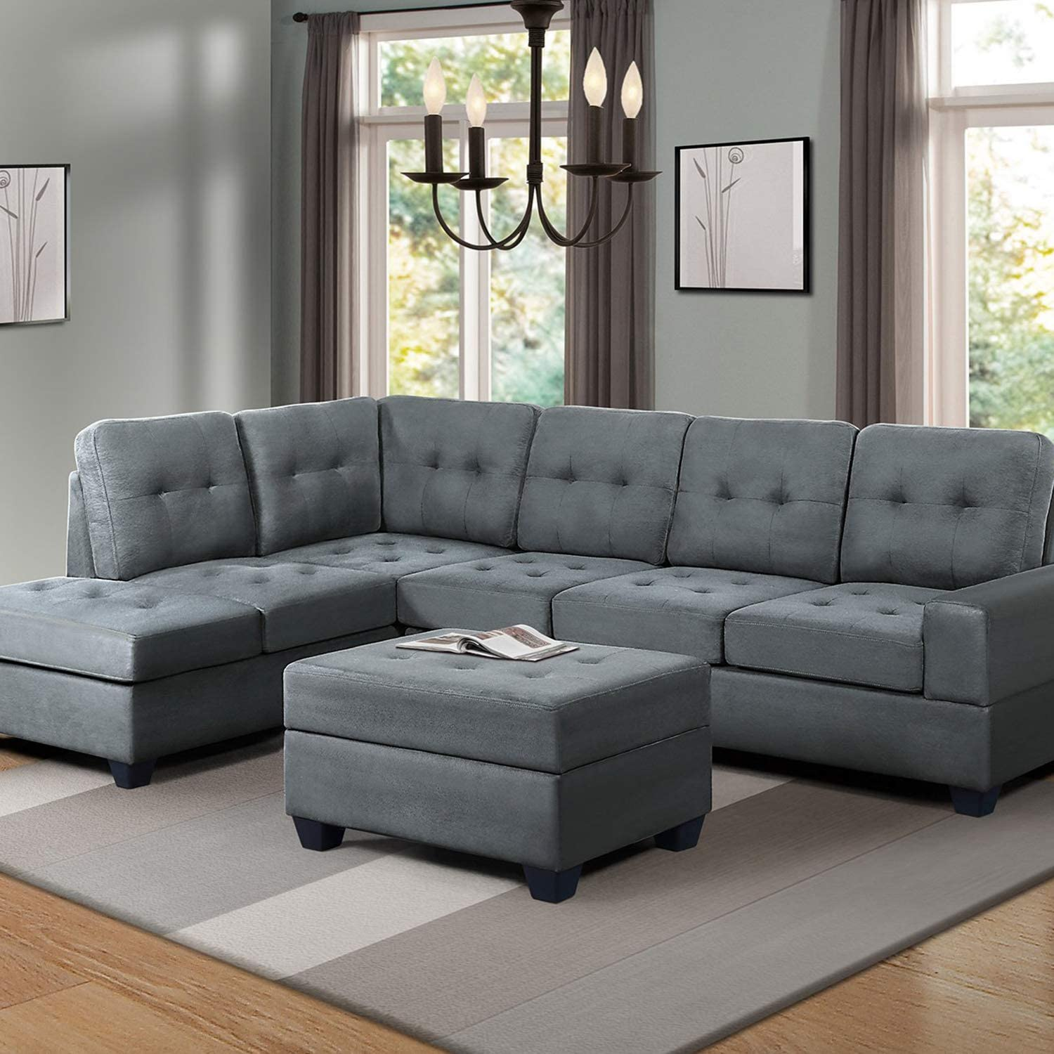 Chaise L shaped sectional with storage