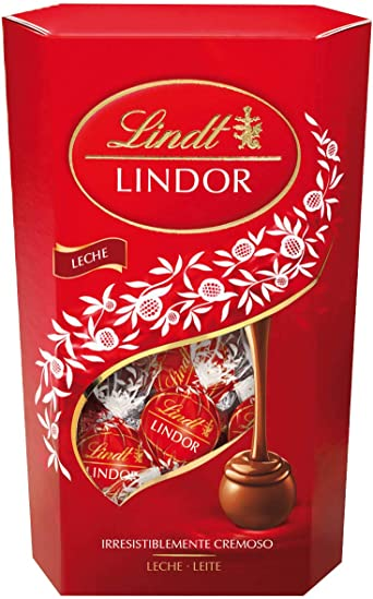 Oferta amazon: Lindt Lindor Cornet Caja de bombones cremosos de chocolate con leche, 600gr.