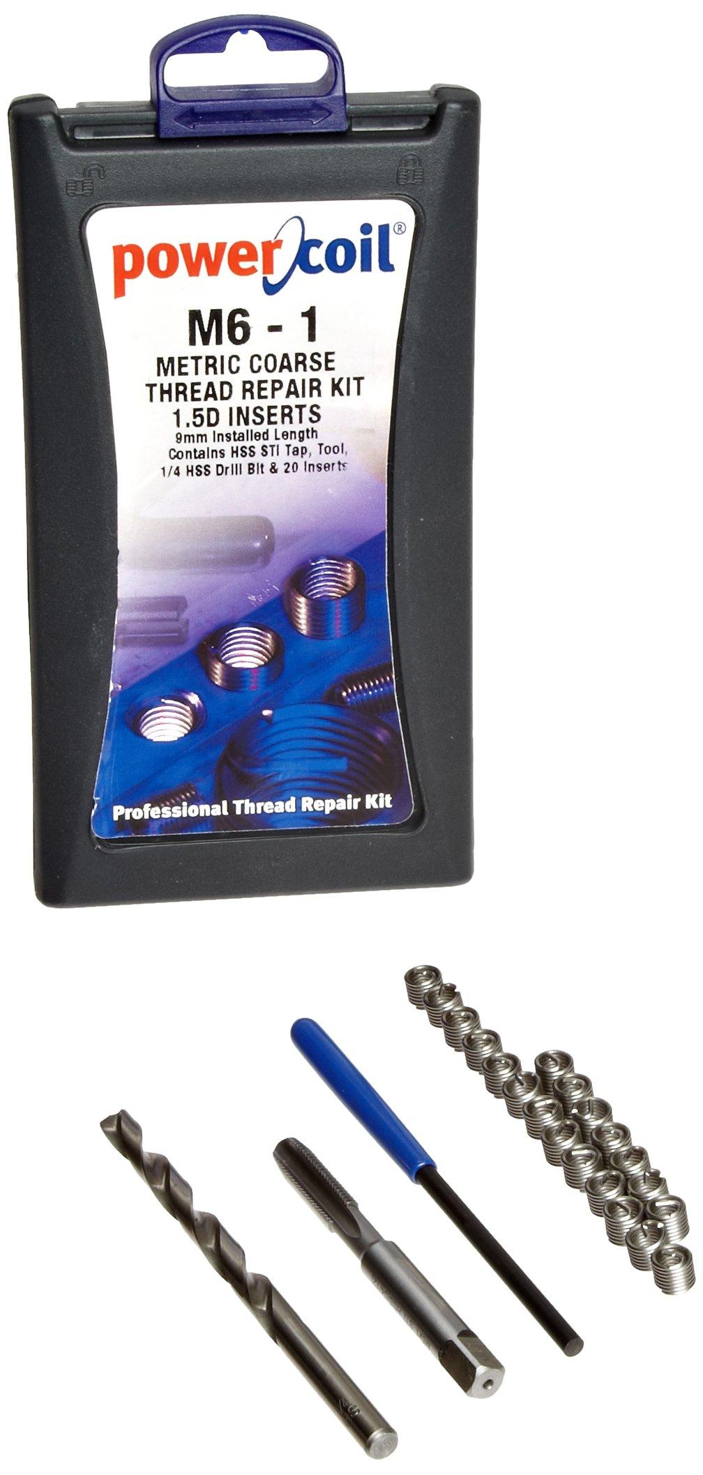 PowerCoil 3520-6.00K Metric Free Running Coil Threaded Insert Kit, 304 Stainless Steel, M6-1.0 Thread Size, 9 mm Installed Length