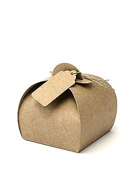 10 papel Kraft cajas de regalo con etiquetas para boda fiesta Weeding cajas de regalo