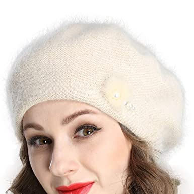 64c52579 Tomorrow Apariencia Women's Winter Solid Color Angora Wool Knit Beret Hat  with Shining Beads Decoration (