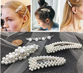 ebc4b9ae7ccd0 Amazon.com : Pearls Hair Clips for Girls Women Wedding Bridal, 4 Pack  Silver Different Shapes Clip Hair Accessories for Women Gifts By LYDZTION :  Beauty