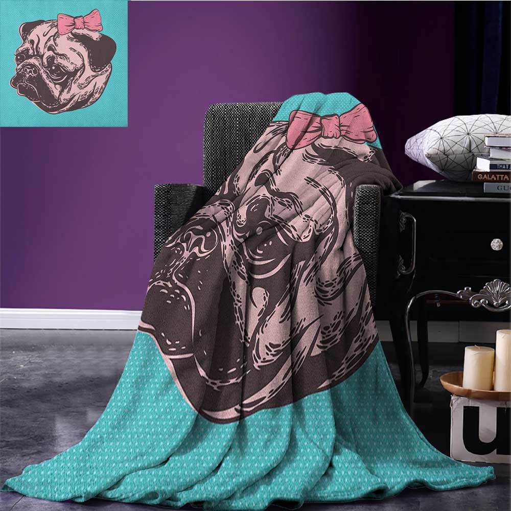 Pug emergency blanket Blue Background with the Cute Pug and Its Pink Buckle Adorable Animal Design Pet Print Print Blue Pink size:60''x80''