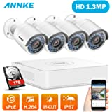 ANNKE 4 Channel HD 1080P SPOE Security Camera System - 1TB Hard Drive, 4 x 960P Bullet Camera, IP67 Weatherproof, Power over Ethernet, Easy Remote Access