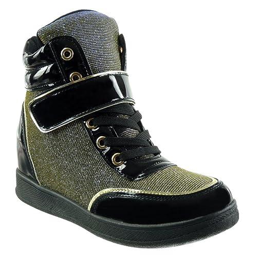 Angkorly - Zapatillas de Moda Deportivos Plataforma Bimaterial Altas Mujer Brillante Tanga Brillantes Talón Plataforma 7 CM: Amazon.es: Zapatos y ...