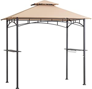 AmazonBasics Outdoor Patio Grill Gazebo with LED Lights for Barbecue - Beige and Khaki