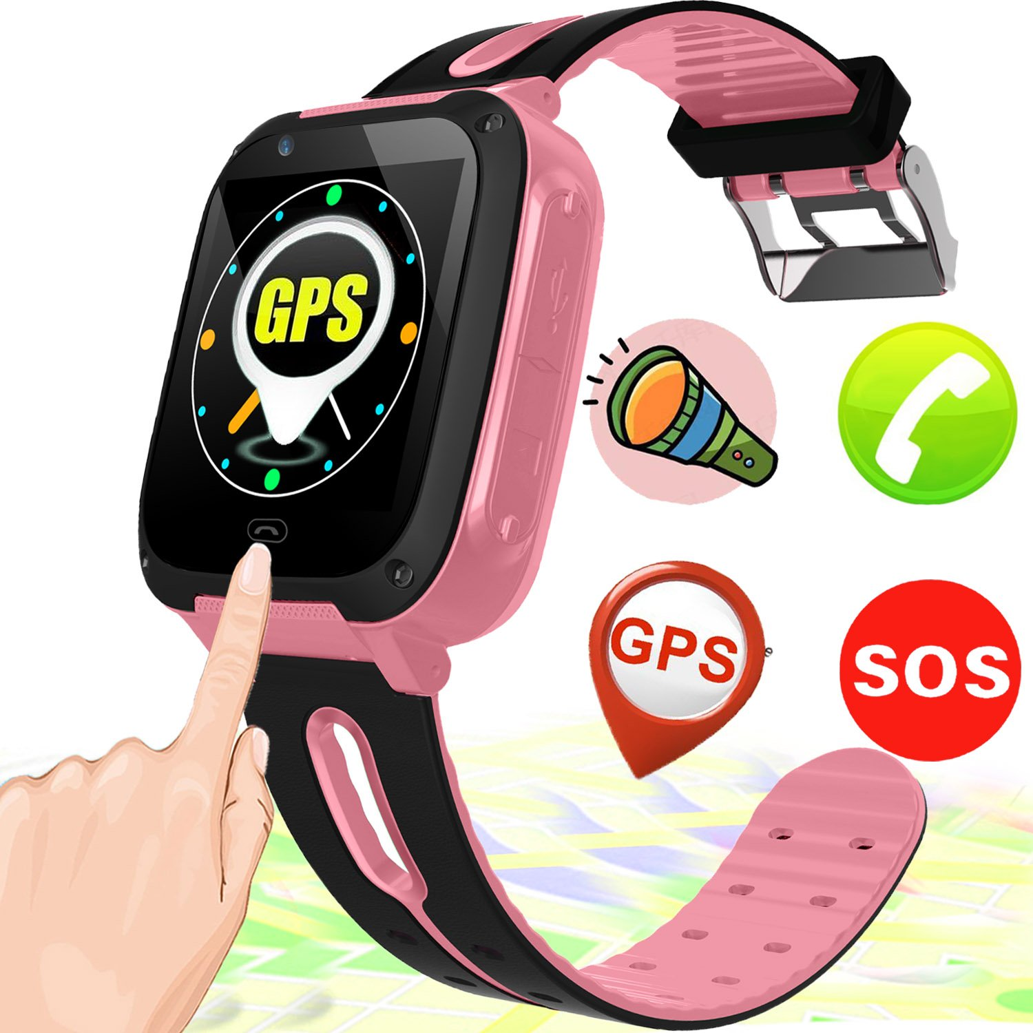 Kids Smart Watch Smart Wrist Watch Phone for 3-12 Year Old with GPS Tracker  SOS Camera Sim Card Slot Game Touch Screen Smartwatch Educational Toys