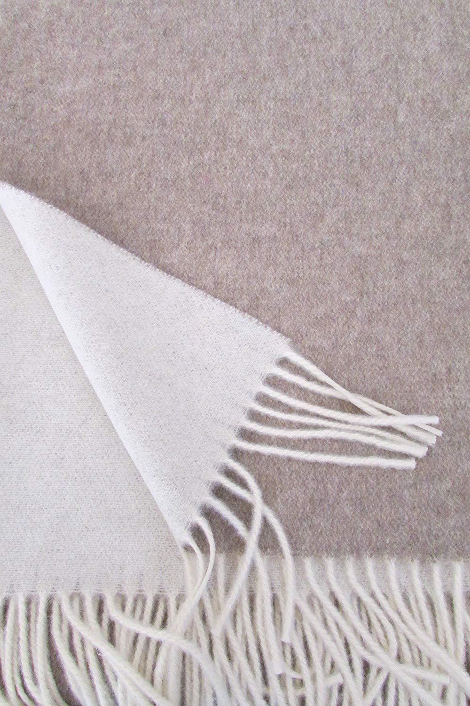 Alpenwolle Wollplaid, Kaschmirplaid Doppelseitig, Tagesdecke mit Kaschmir Anteil, 150x210 cm beige Creme