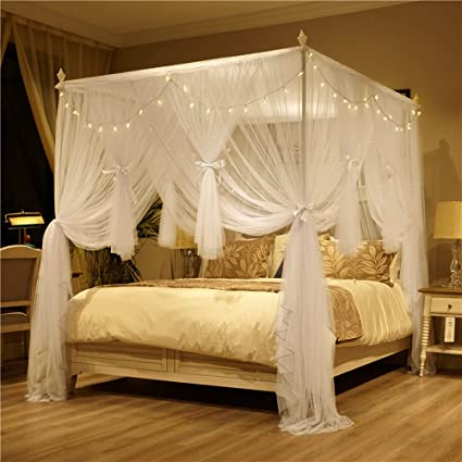 Merveilleux Amazon.com: Nattey 4 Corner Poster Princess Bed Curtain Canopy Mosquito Net  With Led Light (Queen, White): Kitchen U0026 Dining