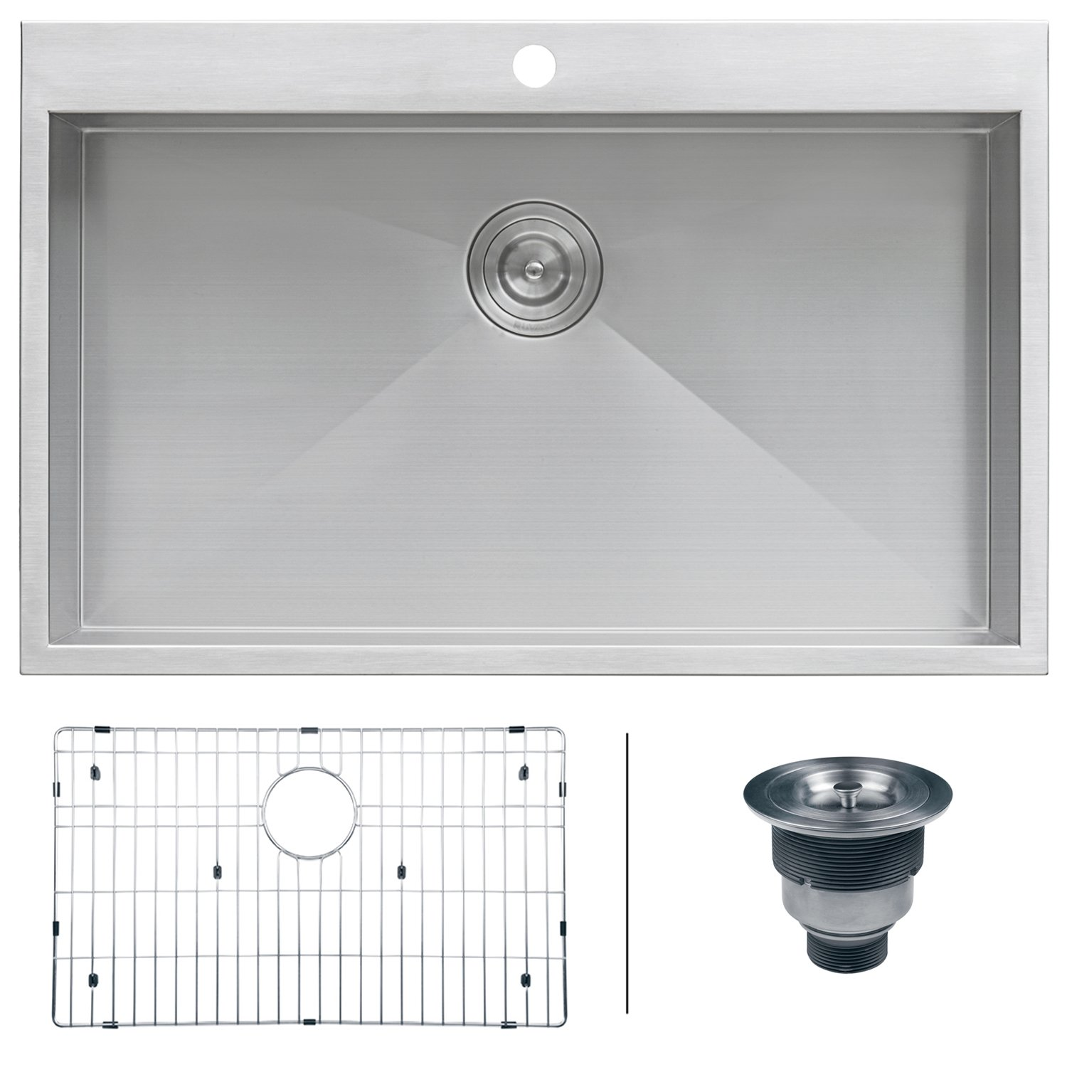 "Ruvati RVH8000 Drop-in Overmount 33"" x 21"" Kitchen Sink 16 Gauge Stainless Steel Single Bowl"