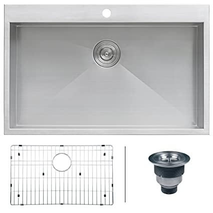 Ruvati RVH8000 Drop In Overmount 33u0026quot; X 21u0026quot; Kitchen Sink 16 Gauge  Stainless