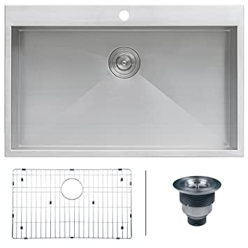 ruvati rvh8000 drop in overmount 33 u0026quot  x 21 u0026quot  kitchen sink 16 gauge stainless ruvati rvh8000 drop in overmount 33   x 21   kitchen sink 16 gauge      rh   amazon com