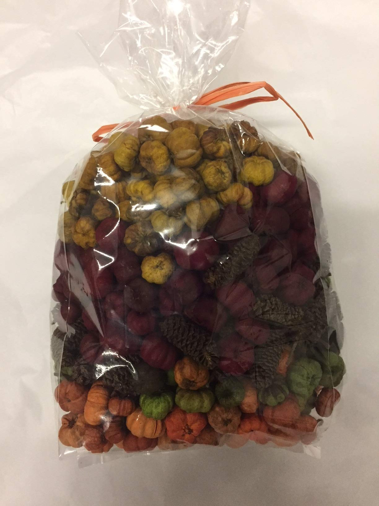 Wreaths For Door Fall Putka Pod Vase Filler Potpourri Mini Pumpkins Fall Decorative Bowl Filler Natural Dried Putka Pods Orange Green Yellow Red and Birch Pine Cones 7.5 Cups by Wreaths For Door