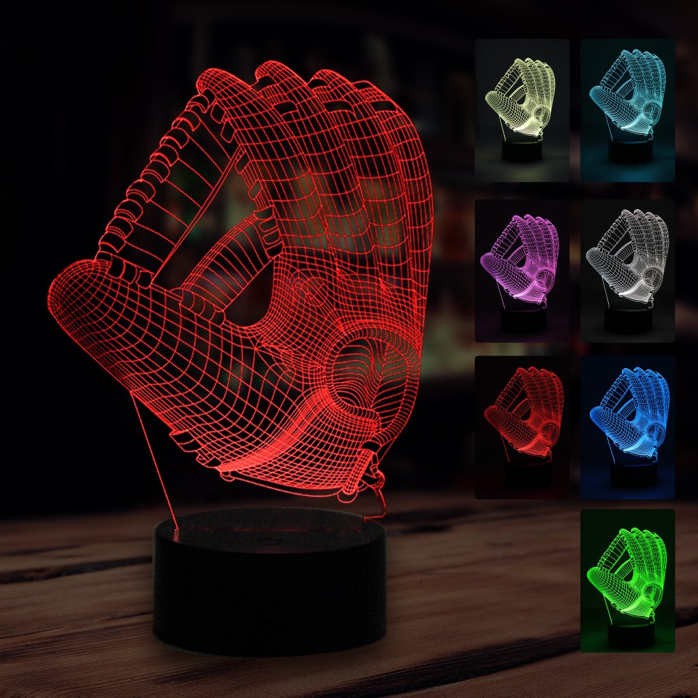 3D Baseball Gloves Night Light