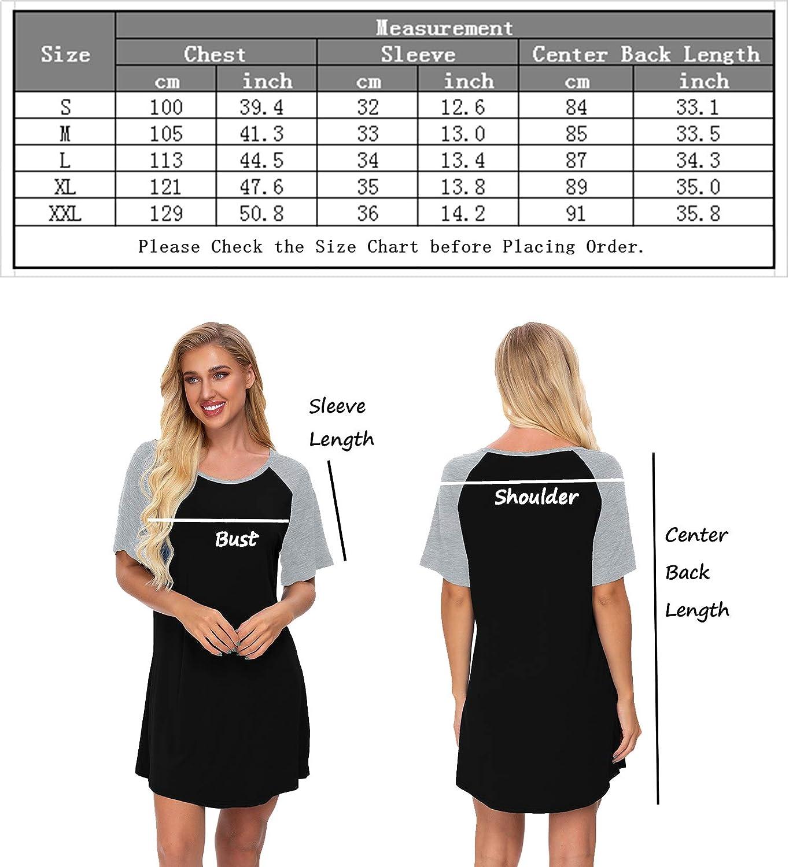 SWOMOG Womens Nightgown Short Sleeve Soft Sleepwear Raglan Sleepshirt Loungewear Nightshirts