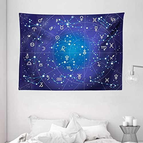 Ambesonne Astrology Tapestry, Constellation of Zodiac and Planets Original Coordinates of Celestial Body Pattern, Wide Wall Hanging for Bedroom Living Room Dorm, 80 X 60 , Dark Blue