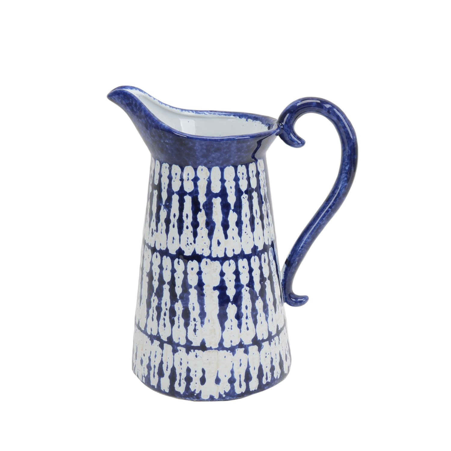 Sagebrook Home 13726-03 Ceramic Pitcher, 9'' x 6'' x 11'', Blue/White