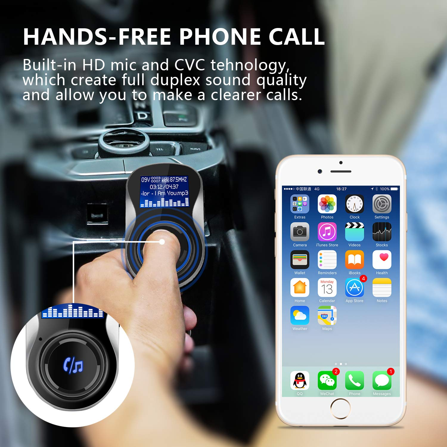 Bluetooth FM Transmitter Wireless Radio Adapter Handsfree Car Charger Kit with Dual USB Ports and 1.4 Display Screen FM Transmitter AUX Supportable