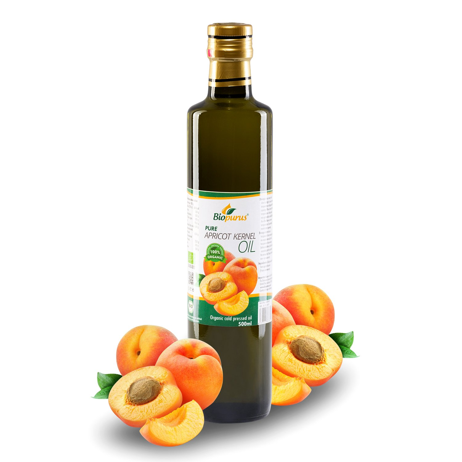 Certified Organic Cold Pressed Apricot Kernel Oil 500ml Biopurus Germany
