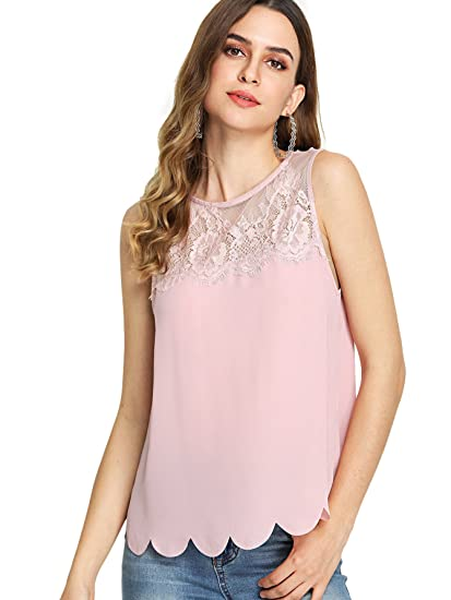 b067b9fdf8d78 Romwe Women s Cute Lace Yoke Scallop Trim Sleeveless Tank Tee Top Pink  X-Small at Amazon Women s Clothing store